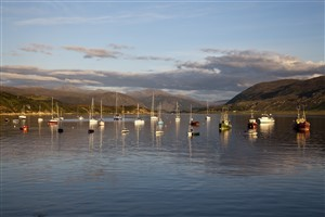 yachts and fishing boats in Loch Broom